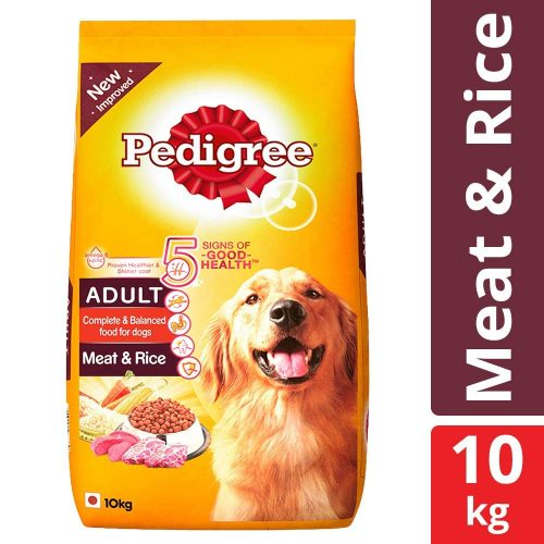 Pedigree Adult Dry Dog Food Meat Rice – 10 kg Pack