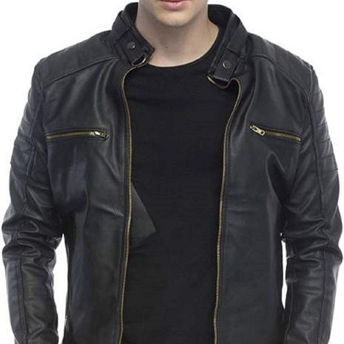 Leather Retail Black Color Designer Faux Leather Biker Jacket for Man